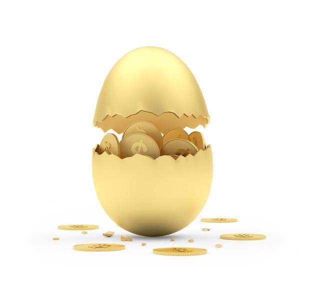Uovo rotto dorato con monete del dollaro.