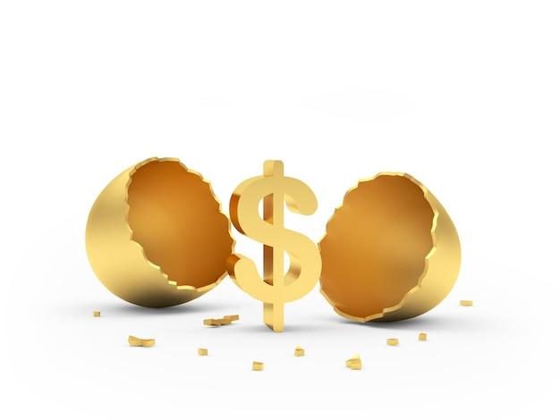 Uovo rotto dorato con un segno di dollaro