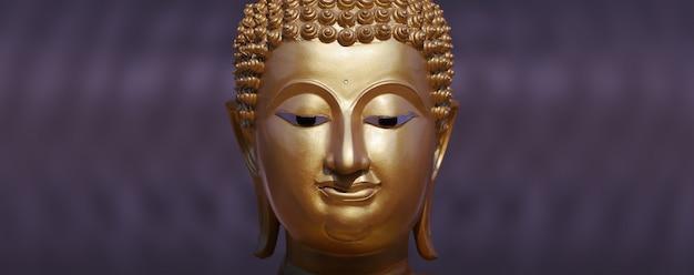 Fine dorata della statua del buddha in su