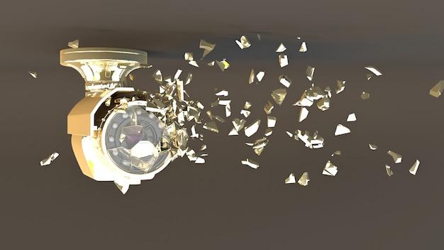 Fotocamera cctv dorata su grigio che cade in piccole parti, illustrazione 3d