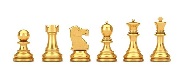 Set di scacchi dorato su sfondo bianco. rendering 3d