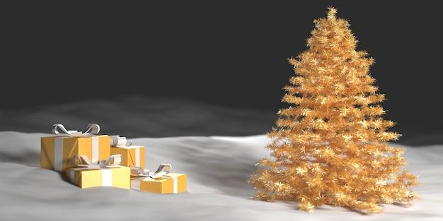Albero di natale dorato nella neve accanto a scatole regalo, illustrazione 3d