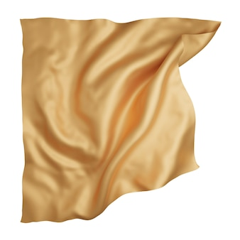 Panno dorato isolato su sfondo bianco 3d rendering
