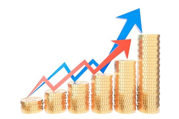 Pila di monete d'oro e grafico grafico delle finanze, risparmio di denaro e concetto di investimento e idee di risparmio e crescita finanziaria. rendering 3d