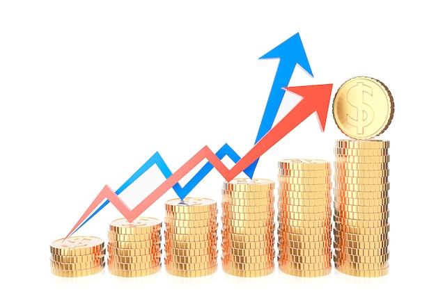 Pila di monete d'oro e grafico grafico delle finanze su priorità bassa bianca