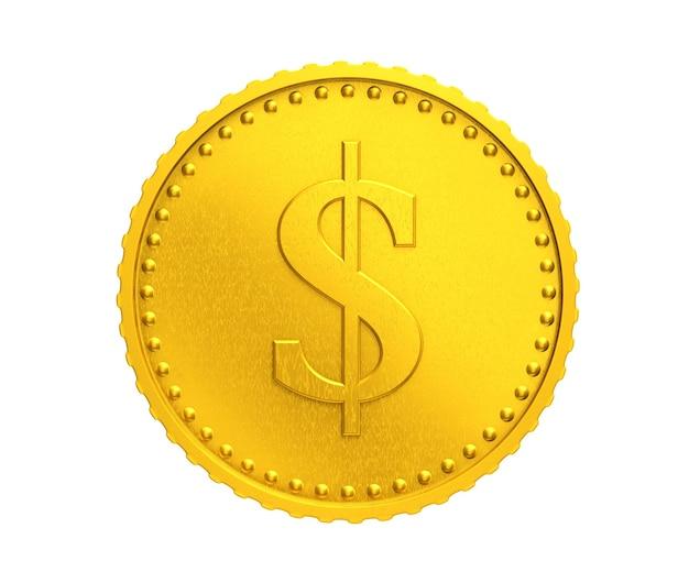 Moneta d'oro con il simbolo del dollaro su sfondo bianco