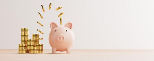 Monete d'oro che volano e galleggiano sul salvadanaio per un risparmio finanziario creativo e un concetto di deposito con spazio di copia, rendering 3d.