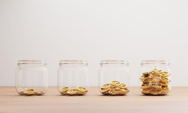 Monete d'oro che aumentano all'interno del barattolo trasparente sul tavolo per il concetto di deposito di risparmio finanziario bancario e di investimento mediante rendering 3d.