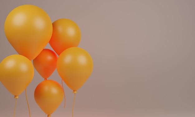 Palloncino di colore dorato che rende il design 3d
