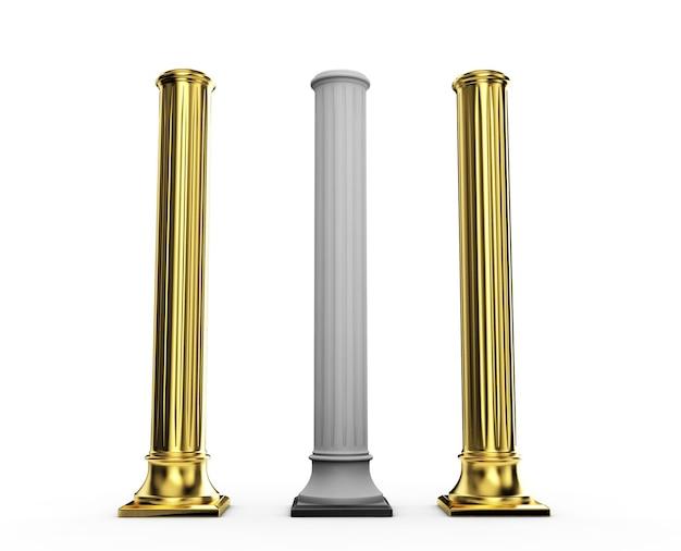 Colonna d'oro. illustrazione 3d su sfondo bianco