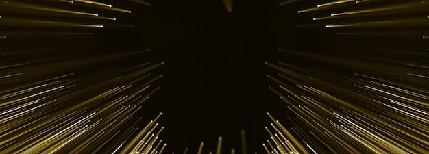 Punti collegati dorati e fili led, diapositiva di presentazione di lusso, poster party. rendering 3d.