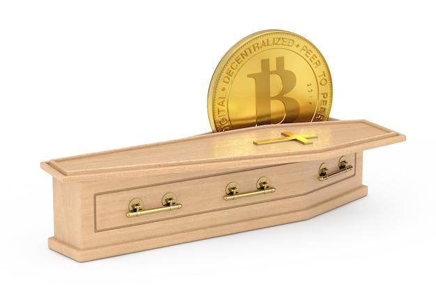 Criptovalute dorate bitcoin in bara di legno con croce dorata e maniglie su sfondo bianco. rendering 3d