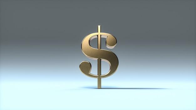 Simbolo del dollaro d'oro su sfondo blu morbido. segno del dollaro in metallo. rendering 3d.