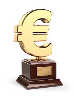 Tazza dorata del trofeo del segno del dollaro isolata su bianco. 3d