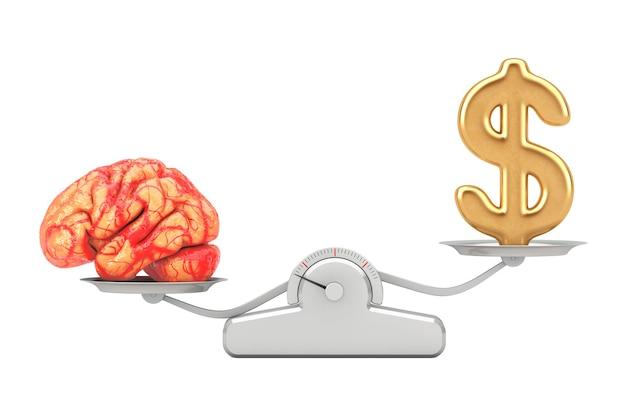 Simbolo del dollaro dorato con bilanciamento del cervello su una scala di pesatura semplice su sfondo bianco. rendering 3d