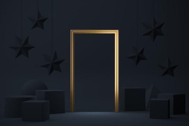 La porta d'oro tra molte geometrie blu scuro, sfondo astratto mockup