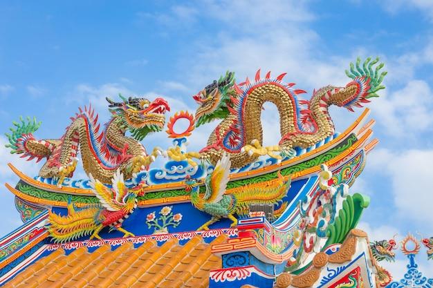 Statua dorata del drago sul tetto pubblico del santuario, tailandia
