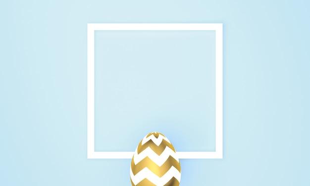 Uovo di pasqua dorato su sfondo blu pastello con cornice bianca. rendering 3d
