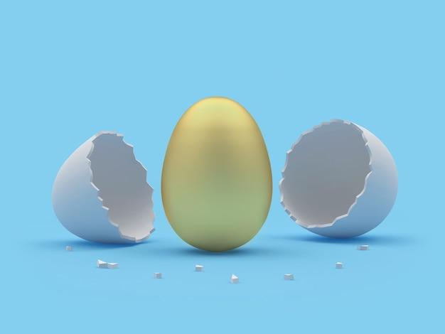 Uovo d'oro e guscio d'uovo rotto