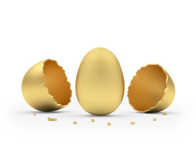 Uovo d'oro schiuso dal guscio d'uovo dorato rotto