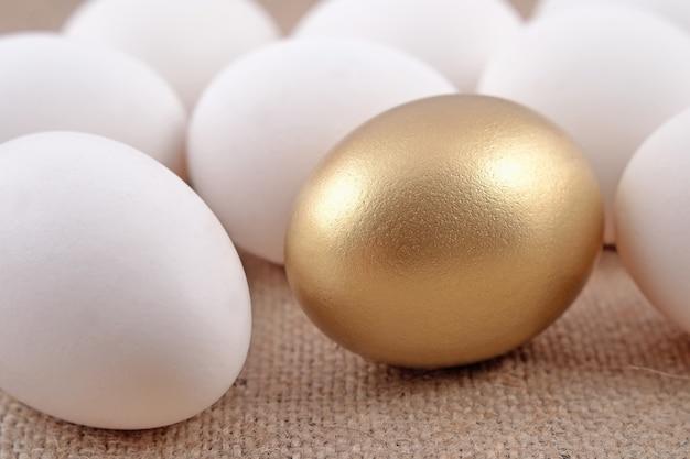 Uovo d'oro e uova di jast su uno sfondo di saccheggio