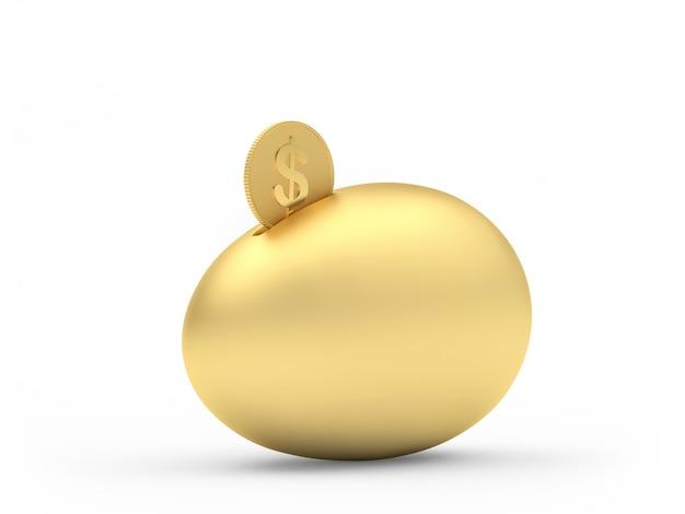 Salvadanaio dorato dell'uovo con una moneta del dollaro
