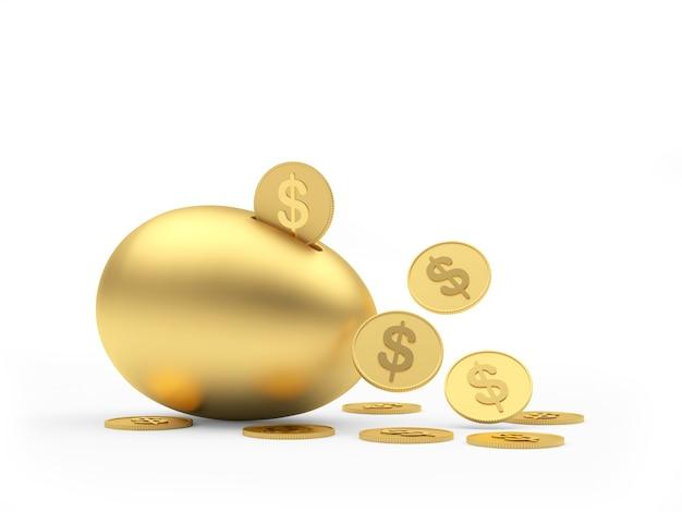 Salvadanaio dorato dell'uovo con le monete del dollaro