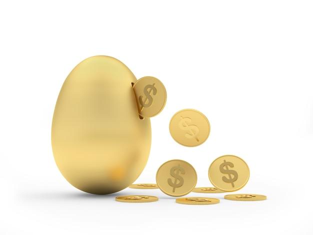 Salvadanaio dorato dell'uovo con monete del dollaro che cadono