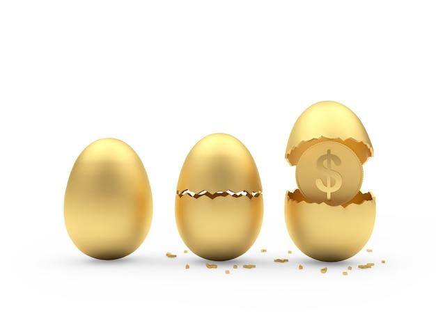 Uova d'oro rotte con una moneta