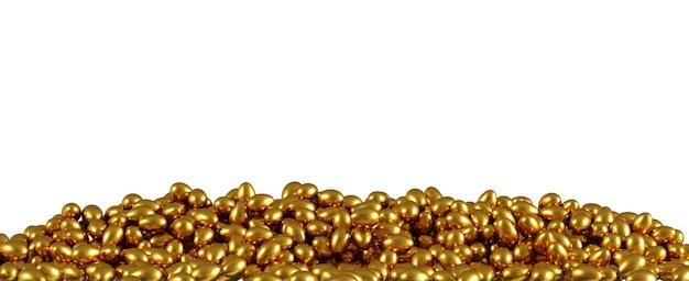 Celebrazione di sovrapposizione delle uova d'oro per l'evento del giorno di pasqua su priorità bassa bianca per lo spazio della copia. rendering 3d.