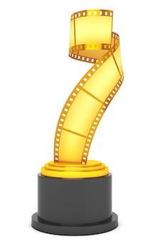 Premio golden film strip su sfondo bianco. rendering 3d
