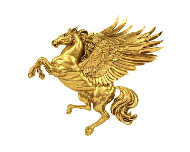 Rendering dorato cavallo volante