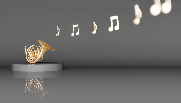 Corno francese dorato su sfondo nero, illustrazione 3d