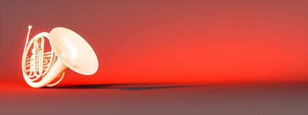 Golden corno francese su sfondo rosso, 3d'illustrazione