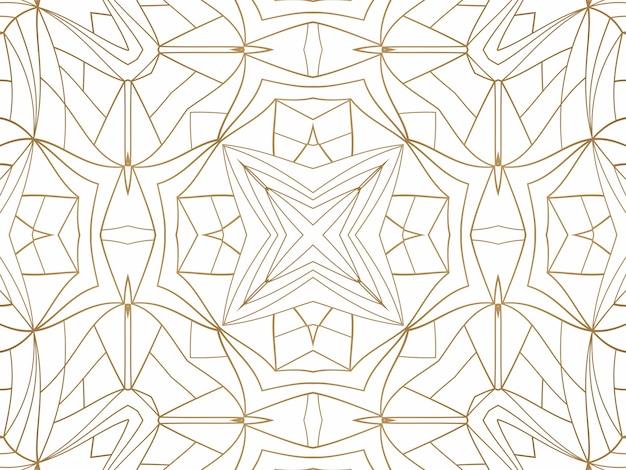 Fondo astratto geometrico dorato su bianco. motivo per decorazione e design, motivo simmetrico di colore oro