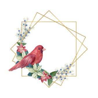 Cornice geometrica dorata con inverno d cor e uccello rosso. illustrazione di natale ad acquerello