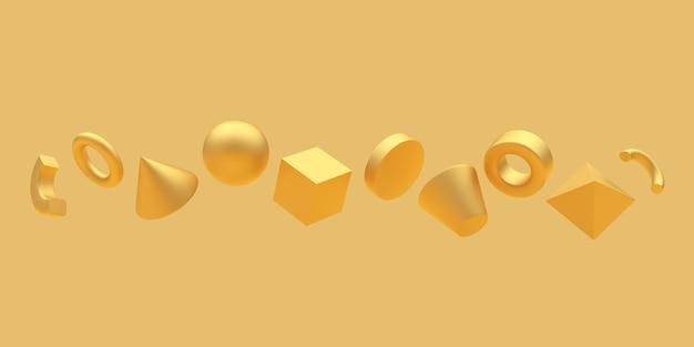 Forme geometriche dorate da sfere e cubi