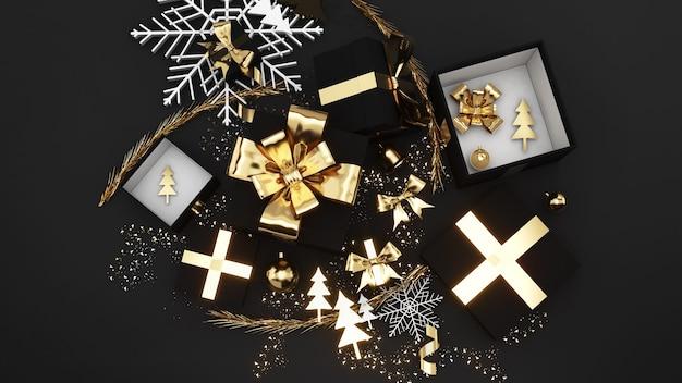 Celebrazione del festival della confezione regalo dorata, confezione regalo di natale dorata su sfondo nero, rendering 3d