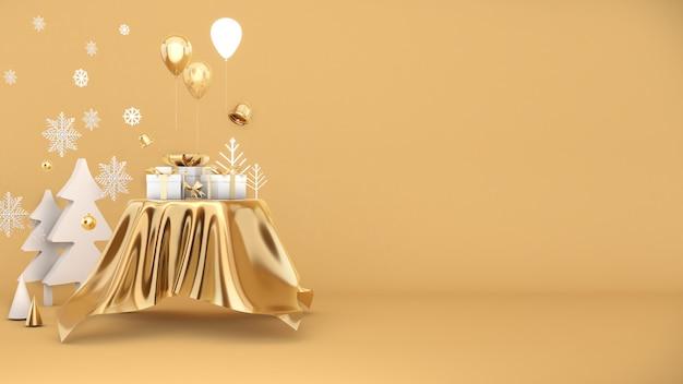 Celebrazione del festival della scatola regalo dorata,confezione regalo di natale dorata su sfondo oro3d render