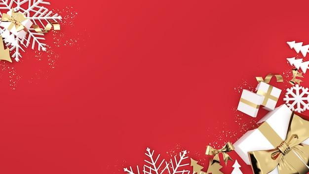 Celebrazione del festival della confezione regalo dorata, confezione regalo di natale dorata su sfondo rosso, rendering 3d