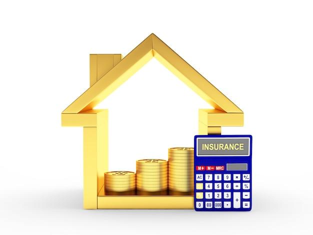 Casa e calcolatore d'oro con la parola assicurazione