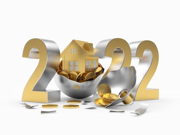 Casa d'oro con monete in una palla di natale rotta e il numero del nuovo anno