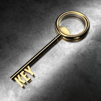 Chiave d'oro su sfondo metallico nero. rendering 3d