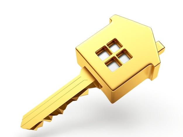 Primo piano dorato della casa chiave