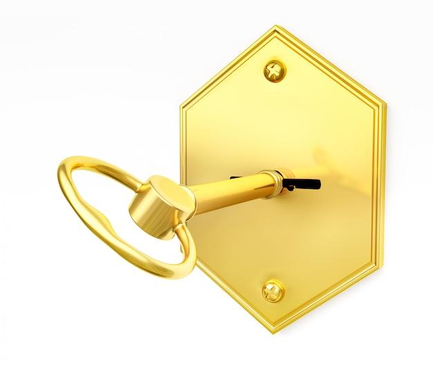 Chiave d'oro nel buco della serratura