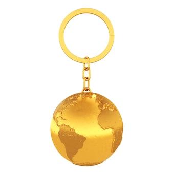 Portachiavi d'oro come globo terrestre su sfondo bianco. rendering 3d