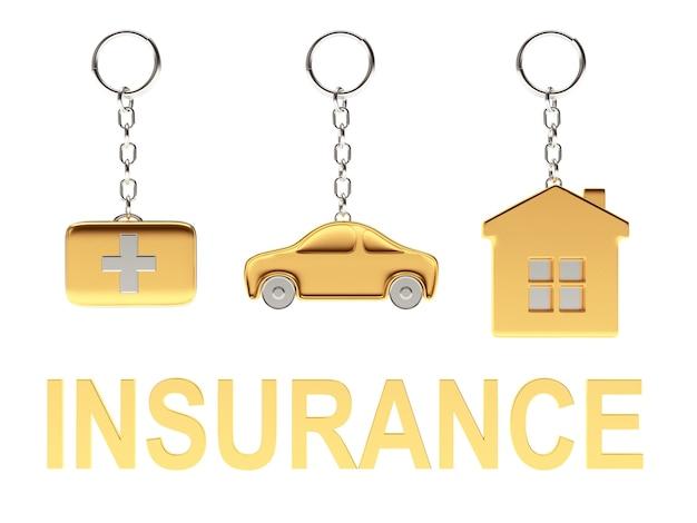 Casa portachiavi d'oro e auto con la parola assicurazione