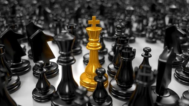 Il re dorato si trova tra i vari pezzi degli scacchi neri nell'illustrazione 3d