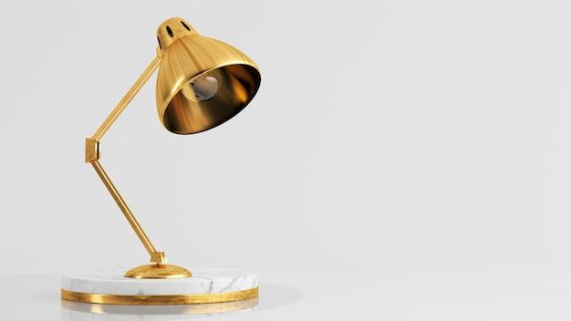 Lampada dorata sulla rappresentazione 3d del piedistallo di marmo bianco di lusso
