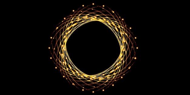 Curva di luce dorata fondo astratto del cerchio sparkle sparkle 3d